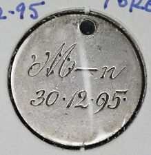 "British Six Pence Love Token - ""M-n 30. 12. 95."""