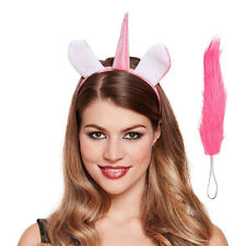 UNICORN SET FANCY DRESS PINK EARS HEADBAND WITH HORN HEN HALLOWEEN TAIL FANTASY