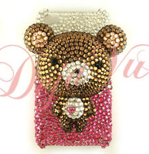IPHONE 4/4S CRYSTAL BLING RHINESTONE BROWN 3D BEAR COVER CASE
