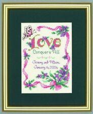amour Conquers TOUT échantillon kit point de croix Mariage - 14count - 12.7cm x