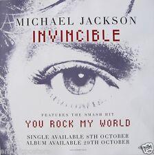 "MICHAEL JACKSON ""INVINCIBLE"" AUSTRALIAN PROMO POSTER - Pop Rock Music"