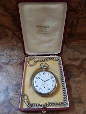 800 Silber Zenith Taschenuhr mit Etui+Uhren-Kette und frischer Revision