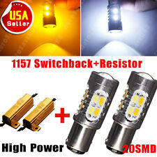2x 1157 20-LED Dual Color Switchback Amber Yellow Lights + Turn Signal Resistors