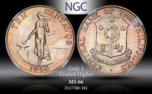 1958 PHILIPPINES 10 CENTAVOS NGC MS 66 ONLY 1 GRADED HIGHER