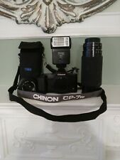 Chinon CP-7m with 2 Chinon lenses, flash and bag