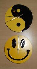 2 x Yellow Clocks: Yellow Yin Yang Clock and Yellow Smiley Face Clock