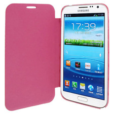 Custodia PVC e Ecopelle Fucsia Flip Cover Samsung Galaxy Note II / N7100