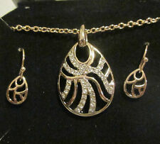 AVON Wave Necklace & Earrings Gift Set-Goldtone with Rhinestones-Hook Earrings