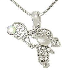 TENNIS GIRL W Swarovski Crystal Sport Love New Pendant Necklace Gift