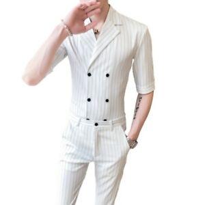 Men's Party Dress Slim Fit 2PCS Suit Tights Pants Double Breasted Shirt Lapel L