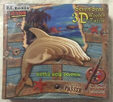 Seven Seas 3D Wooden Puzzle Bottle Nose Dolphin Built & Rebuild