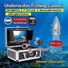 "7"" LCD 50M Underwater Fish Finder 12pcs IR LED HD 1000TVL Camera DVR Record D6"