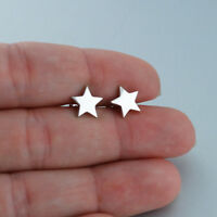 Polished Star Stud Earrings - 925 Sterling Silver - Stars Posts Plain 9mm Simple