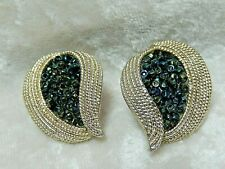 Vintage Cluster Green Clip on Earrings  Pair