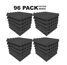 Acoustic Foam 12x12x2 wedge 96 Pack Charcoal Gray Combo Soundproofing tiles
