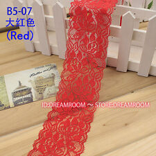 "laverslace Quality Deep Burnt Red Quality Wide Stretch Lace Trim 8/""//20 cm"