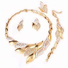 Rhinestone Leaves 18k Gold Plated Necklace, Bracelet, Earring Ring Set