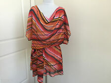 FIFILLES PARIS DOLMAN SLEEVE STRIPED HANDKERCHIEF PRINT TUNIC TOP WITH SASH SZ 1