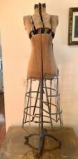 Antique 1900's Industrial Adjustable Mannequin Dress Form Ornate Cast Iron Base