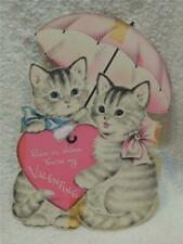 """Extra Large Vintage Valentine Day Card Gray Tiger Striped Cats w/ Umbrella 11"""""""