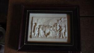 Antique Limestone Tile/Plaque Framed French