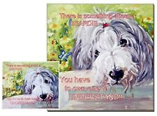 BEARDED COLLIE DOG HARDBOARD PLAQUE and LENS CLEANING CLOTH SANDRA COEN ARTIST