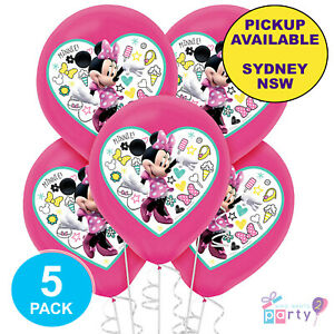MINNIE MOUSE PARTY SUPPLIES 6 LATEX COLOUR BALLOONS HELIUM BIRTHDAY DECORATIONS