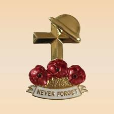 NEW 2018 Gold 4.5cm Crystal Poppy Flower Hat & Cross Brooch Badge Pin