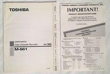 Vintage 1990s TOSHIBA M-661 Hi-Fi VHS VCR Owner's Manual English & Espanol