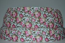 """1 yd 7/8"""" Grosgrain Ribbon  Floral Peony Flower Mother's Day Flowers Printed"""