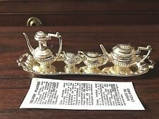 Vintage Silver Plate Doll Miniature 5 Piece Tea Set w/Tray Made in England