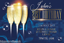 50 x 21st 18th 30th 40th Champagne Glitz Birthday Party Invitations with envs