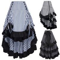 Belle Poque Women Vintage Victorian Ruffle High-Low Skirt Steampunk Gothic Dress