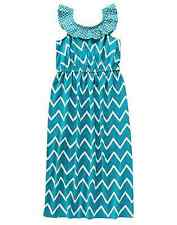 Gymboree Girls SUNNY SAFARI Turquoise Chevron Ruffle Knit Maxi Dress Size 4 6 7