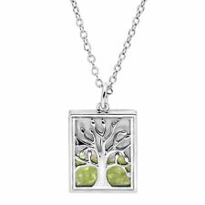 Natural Peridot Tree of Love Shaker Pendant in Rhodium-Plated Brass
