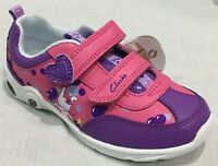 BNIB Clarks Girls Mitzy Leap Purple/Pink Leather Lights Trainers E/F/G/H Fitting