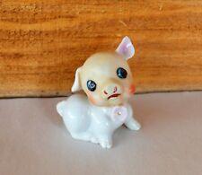 "Vintage 2"" Dime Store Mini White Pig Figurine w Pink Flower Comical Face Japan"