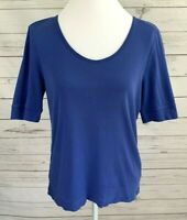 Talbots Top Womens Medium M Blue Solid V-Neck Short Sleeve Stretch 100% Cotton