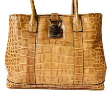 Dooney & Bourke Tan Croc Embossed Leather Shoulder Tote Bag Logo Lock Close