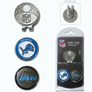 Detroit Lions NFL Team Golf Cap Clip with 2 Magnetic Enamel Ball Markers