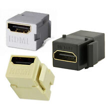One HDMI Cable HD Connector for Keystone Wall plate, Choose White Ivory or Black