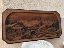 TRÈS GRAND Tableau en bois sculpté décor montagne signé CLEAL chalet ski maison