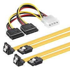 2x 0,1m S-ATA 3 Datenkabel Winkel (Clip) + 4pin zu 2x SATA Stromadapter SSD HDD