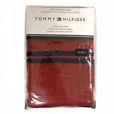 Tommy Hilfiger Jute Stripe Euro Pillow Sham Cotton Red/Blue New - Msrp $120