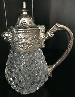 Lidded creamer lions head spout silver plated diamond cut glass sculpted ornate