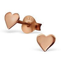 14ct Rose Gold-Plated 925 Sterling Silver Heart Stud Earrings