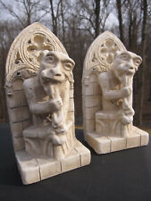 2 Gargoyles Eating Rabbit or Gnawing Bones Notre Dame Bookends