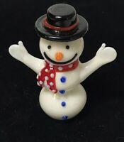 """Glass """"SNOWMAN"""" Christmas  Sculpture Figurine Miniature Murano Art"""