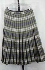 VTG Tootal Collection Sz 16 REVERSABLE 100% Wool Navy & Green Pleated Skirt NWOT