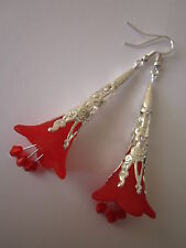 Long Drop / Dangle Earrings - Filigree Trumpet Flowers - Red - Silver Plated
